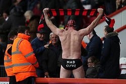 Bournemouth fan, Mad Cilve sports a pair to swimming trunk to the match - Mandatory by-line: Jason Brown/JMP - Mobile 07966 386802 28/11/2015 - SPORT - FOOTBALL - Bournemouth, Vitality Stadium - AFC Bournemouth v Everton - Barclays Premier League