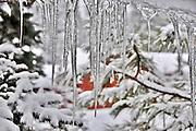 USA, Idaho, Valley County, Tamarack Resort, Icicles