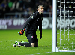 Boaz Myhill (West Bromwich Albion) of Wales is devastated after conceding a late goal to loose the game - Photo mandatory by-line: Joe Meredith/JMP - Tel: Mobile: 07966 386802 26/03/2013 - SPORT - FOOTBALL -  Liberty Stadium - Swansea -  Wales V Croatia - WORLD CUP QUALIFIER