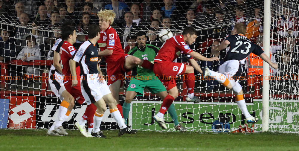 JAMES BOARDMAN / 07967642437.Luton's jason Walker puts Crawley's defence under pressure during the Blue Square Premier match between Crawley Town and Luton Town at the Broadfield Stadium in Crawley April 12, 2011..