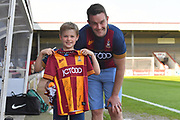 Bradford City fans show of sign Bradford City Shirt before the EFL Sky Bet League 1 match between Scunthorpe United and Bradford City at Glanford Park, Scunthorpe, England on 5 May 2018. Picture by Ian Lyall.
