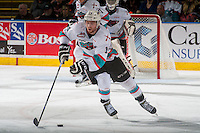 KELOWNA, CANADA - APRIL 4: Rourke Chartier #14 of Kelowna Rockets skates with the puck against the Kamloops Blazers on April 4, 2016 at Prospera Place in Kelowna, British Columbia, Canada.  (Photo by Marissa Baecker/Shoot the Breeze)  *** Local Caption *** Rourke Chartier;