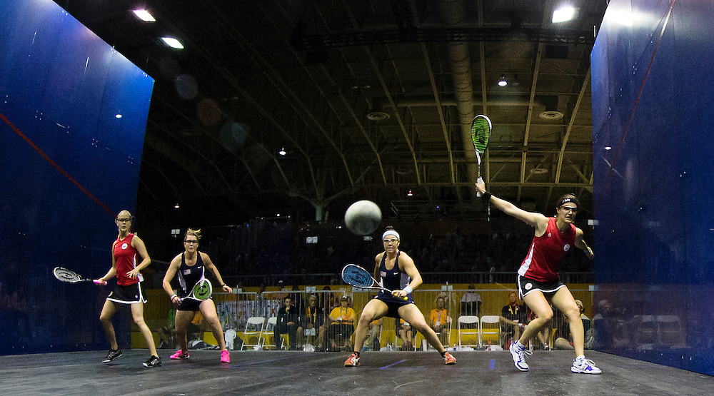 Natalie Grainger and Amanda Sobhy of the USA defeat Canadians Sam Cornett and Nicole Todd 2-1(11-9, 9-11, 11-6) to win the women's doubles squash gold medal at the Pan Am Games in Toronto on July 14, 2015.