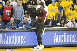 May 31, 2018 - Oakland, California, U.S - LeBron James #23 of the Cleveland  Cavaliers gets ready to  come into play during their NBA Championship Game 1 with  the Golden State Warriors  at Oracle Arena in Oakland,  California on Thursday,  May 31, 2018. ARMANDO  ARORIZO/PI (Credit Image: © Prensa Internacional via ZUMA Wire)
