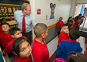 Michael Bennett teaches his second grade class on the first day of school at Cage Elementary School, August 26, 2013.