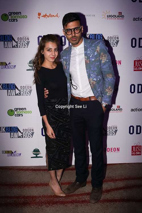 Westminster, UK. 20th Apr, 2017.Yusuf Omar and wife - CNN attend The annually National UK Blog Awards at Park Plaza Westminster Bridge, London. by See Li