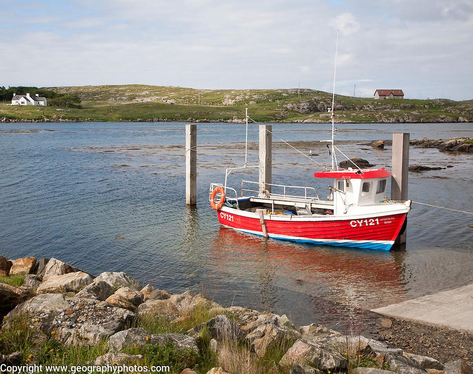 Small fishing boat at Northbay, Barra, Outer Hebrides, Scotland, UK