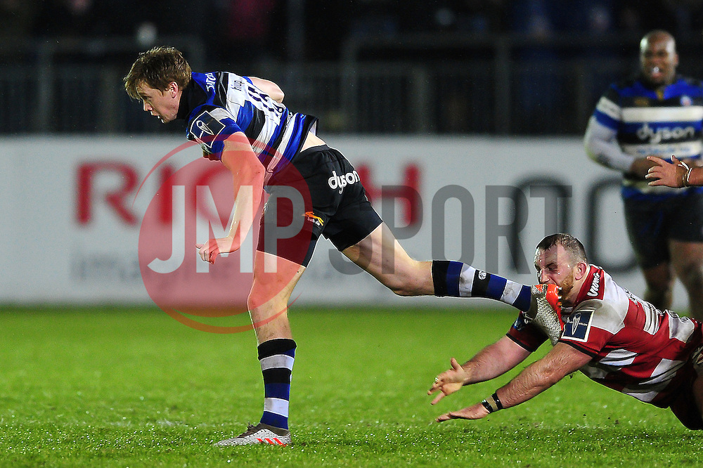 Harry Davies of Bath Rugby gets past Yann Thomas of Gloucester Rugby - Mandatory byline: Patrick Khachfe/JMP - 07966 386802 - 27/01/2017 - RUGBY UNION - The Recreation Ground - Bath, England - Bath Rugby v Gloucester Rugby - Anglo-Welsh Cup.