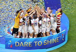 USA players celebrate with the trophy after winning the FIFA Women's World Cup 2019