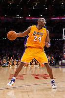 16 March 2012: Guard Kobe Bryant of the Los Angeles Lakers against the Minnesota Timberwolves during the second half of the Lakers 97-92 victory over the Timberwolves at the STAPLES Center in Los Angeles, CA.