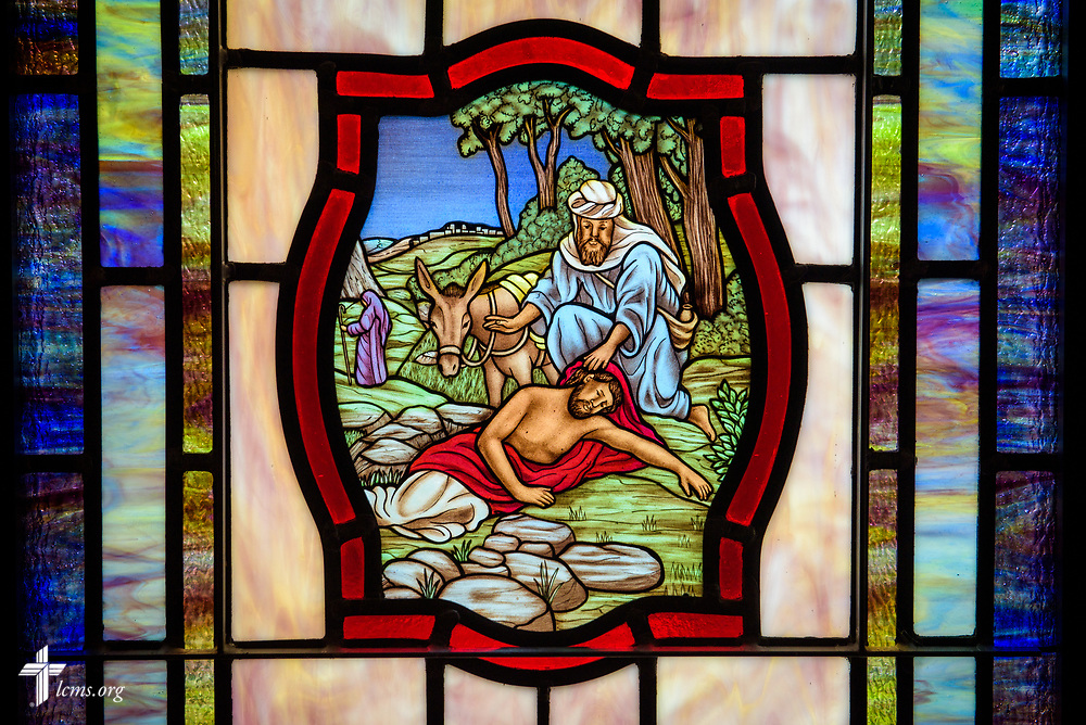Stained glass depicting The Parable of the Good Samaritan (Luke 10:25) at St. John's Lutheran Church, Conover, N.C, on Friday, April 21, 2017. LCMS Communications/Erik M. Lunsford