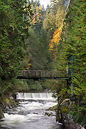 The Capilano River and the Second Canyon Trail bridge at Capilano River Regional Park in North Vancouver, British Columbia, Canada