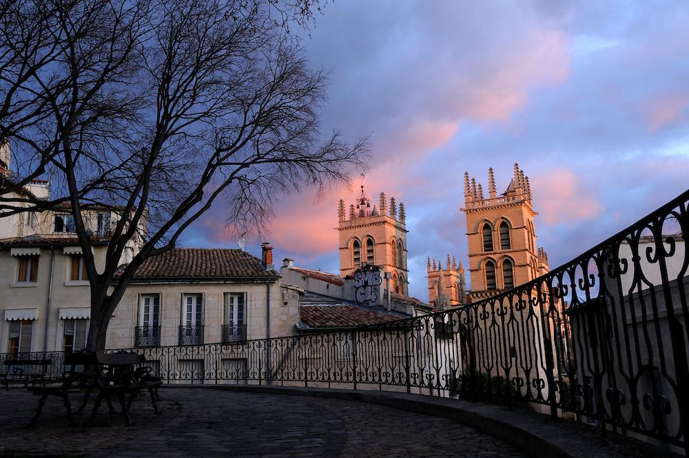 France, Languedoc Roussillon, Hérault, Montpellier, centre historique, Ecusson, Place de la Canourgue et la Cathedrale Saint Pierre