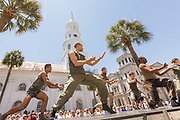 Dancers with the Bill T. Jones Arnie Zane company perform in front of historic St. Michaels Church as the annual 17-day Spoleto Festival USA kicks off May 27, 2016 in Charleston, South Carolina. The festival began with remembrances of the nine people fatally shot in last years AME church shooting.