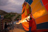 Getting ready for a hot air balloon flight, Cappadocia, Turkey