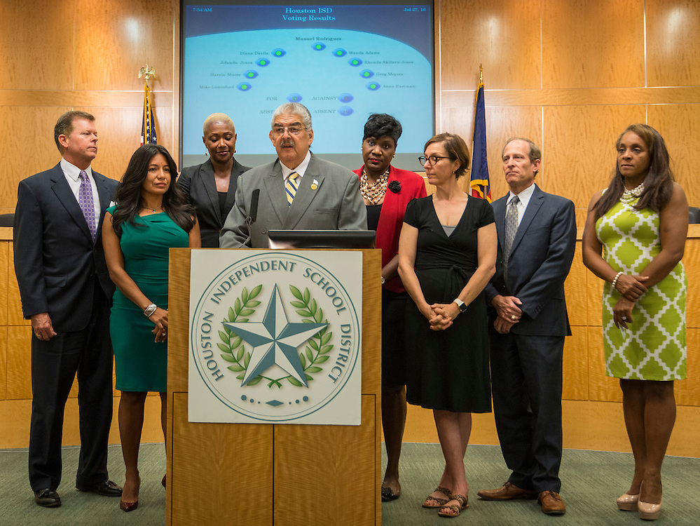 Houston ISD Board of Trustees president Manuel Rodriguez comments after the Board voted unanimously to name Richard Carranza the sole finalist for the position of Superintendent, July 27, 2016.