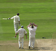 Photo Peter Spurrier.01/09/2002.Village Cricket Final - Lords.Elvaston C.C. vs Shipton-Under-Wychwood C.C..Shipton's wicketkeeper Shane Duff and Bowler Jason Constable celebrate the dismissal of Elvaston's Andrew Barrett for 2. (Chris panter to th left)