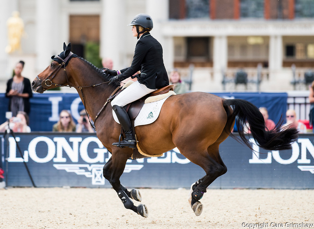 Tiffany Foster (CAN) rides Brighton in the Grand Prix during the Longines Global Champions Tour, August 6 2017 London UK