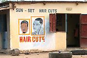 Tanzania, Rural farming community Hair cuts in the village centre