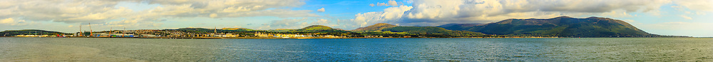 View overlooking Carlingford Lough from Omeath Pier including, from left, Warrenpoint, Rostrevor and the Mourne Mountains. Image composed of 25 photos at 85mm offering stunning levels of detail.<br />