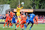 Shrewsbury Town goalkeeper Dean Henderson (1) making a saev from a corner during the EFL Sky Bet League 1 match between AFC Wimbledon and Shrewsbury Town at the Cherry Red Records Stadium, Kingston, England on 12 August 2017. Photo by Matthew Redman.