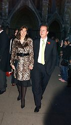 DAVID & SAMANTHA CAMERON at the wedding of Clementine Hambro to Orlando Fraser at St.Margarets Westminster Abbey, London on 3rd November 2006.<br />