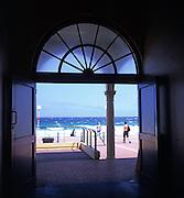 Bondi beach viewed from inside building, Sydney, Australia