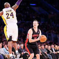 08 December 2013: Los Angeles Lakers shooting guard Kobe Bryant (24) jumps on the fake shot by Toronto Raptors small forward Steve Novak (16) during the first half to the game between the Los Angeles Lakers and the Toronto Raptors at the Staples Center, Los Angeles, California, USA.
