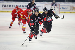 04.01.2015, Arena Nuernberger Versicherung, Nuernberg, GER, DEL, Thomas Sabo Ice Tigers Nuernberg vs Duesseldorfer EG, 35. Runde, im Bild Trikotnr.: 17 Patrick Reimer - Ice Tigers Nuernberg und hinten Trikotnr.: 42 Yasin Ehliz - Ice Tigers Nuernberg (schwarzes Trikot) // during Germans DEL Icehockey League 35th round match between Thomas Sabo Ice Tigers Nuernberg and Duesseldorfer EG at the Arena Nuernberger Versicherung in Nuernberg, Germany on 2015/01/04. EXPA Pictures © 2015, PhotoCredit: EXPA/ Eibner-Pressefoto/ Arth<br /> <br /> *****ATTENTION - OUT of GER*****