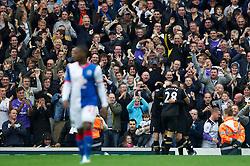 BLACKBURN, ENGLAND - Sunday, October 23, 2011: Tottenham's Rafael Van Der Vaart celebrates scoring the second goal against Blackburn Rovers with team-mate Kyle Walker during the Premiership match at Ewood Park. (Pic by Vegard Grott/Propaganda)