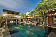 Swimming pool in front of a modern luxury villa, Canggu, Bali