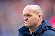 Scotland head coach Gregor Townsend watches the team warm-up before the Guinness Six Nations match between Scotland and Wales at BT Murrayfield Stadium, Edinburgh, Scotland on 9 March 2019.