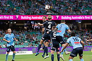 SYDNEY, AUSTRALIA - APRIL 06: Melbourne Victory midfielder Keisuke Honda (4) goes up for the ball at round 24 of the Hyundai A-League Soccer between Sydney FC and Melbourne Victory on April 06, 2019, at The Sydney Cricket Ground in Sydney, Australia. (Photo by Speed Media/Icon Sportswire)