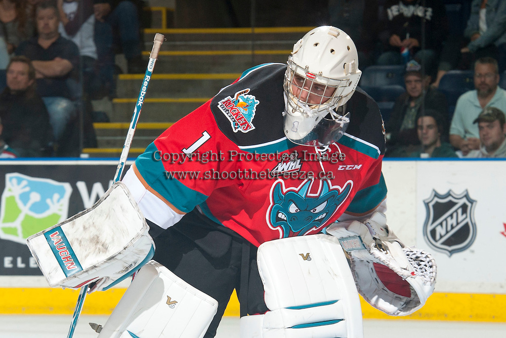KELOWNA, CANADA - OCTOBER 7:  Jackson Whistle #1 of Kelowna Rockets skates against the Kelowna Rockets on October 7, 2014 at Prospera Place in Kelowna, British Columbia, Canada.  (Photo by Marissa Baecker/Getty Images)  *** Local Caption *** Jackson Whistle;