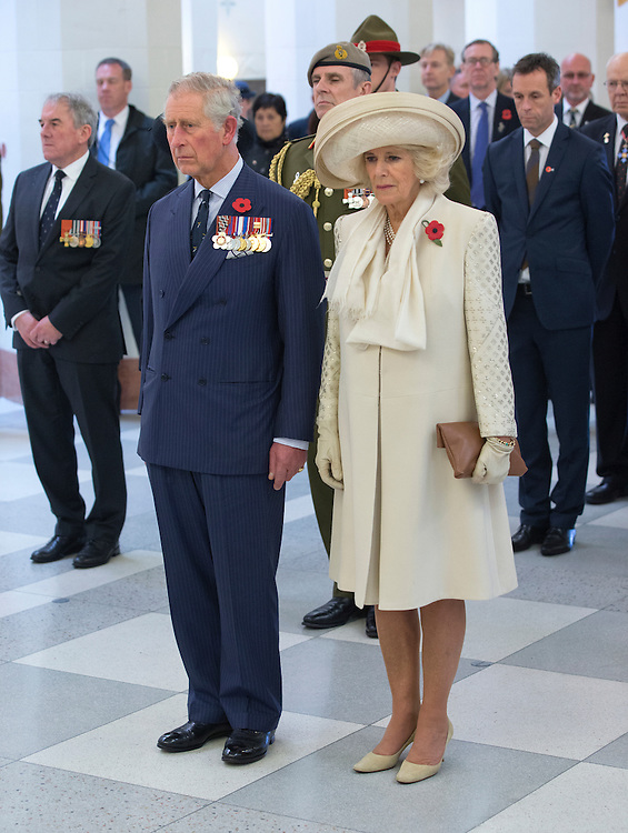 Prince Charles, Prince of Wales and Camilla, Duchess of Cornwall at a wreath laying ceremony at the National War Memorial, Wellington, New Zealand, Wednesday, November 04, 2015. Credit:SNPA / NZ Herald, Marl Mitchell **POOL**