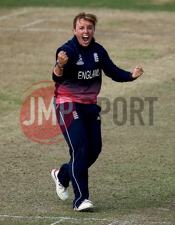 Danielle Hazell of England Women celebrates taking the wicket of Alyssa Healy of Australia Women - Mandatory by-line: Robbie Stephenson/JMP - 09/07/2017 - CRICKET - Bristol County Ground - Bristol, United Kingdom - England v Australia - ICC Women's World Cup match 19