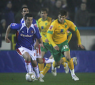 Carlisle - Saturday November 28th, 2009: Ian Harte of Carlisle United and Chris Martin of Norwich City during the FA Cup second round match at Brunton Park, Carlisle. (Pic by Andrew Stunell/Focus Images)..
