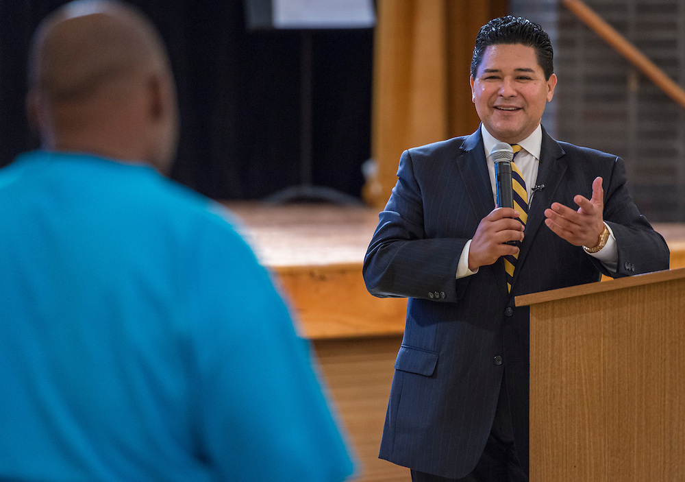 Superintendent Richard Carranza during a stop of his Listen & Learn Tour of the district at Jones High School, September 16, 2016.