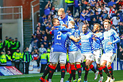 James Tavernier (C) of Rangers FC celebrates with his team during the Ladbrokes Scottish Premiership match between Rangers and Celtic at Ibrox, Glasgow, Scotland on 12 May 2019.