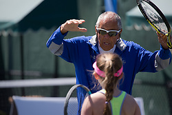 March 22, 2018 - Miami, Florida, United States - Legandary Coach Nick Bolletieri, from IMG Academy, coaching one of her students in one of Miami Open's secundary courts  on March 23, 2018 in Key Biscayne, Florida (Credit Image: © Manuel Mazzanti/NurPhoto via ZUMA Press)