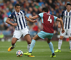 Jake Livermore of West Bromwich Albion (L) and Jack Cork of Burnley in action - Mandatory by-line: Jack Phillips/JMP - 19/08/2017 - FOOTBALL - Turf Moor - Burnley, England - Burnley v West Bromwich Albion - Premier League