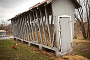 Amish corn storage bins on a farm near East Earl, PA