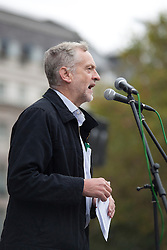 © Licensed to London News Pictures. 08/10/2011. LONDON, UK. Labour MP for Islington North, Jeremy Corbyn, talks at an anti-war protest in Trafalgar Square. Photo credit: Matt Cetti-Roberts/LNP
