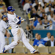 Russell Martin breaks his bat while driving in Juam Pierre in the 6th inning against the Diamondbacks. The Dodgers played host to the Arizona Diamondbacks during a game at Dodger Stadium in Los Angeles, CA.  photo by John McCoy/staff photographer 7/31/2008 in Los Angeles, CA