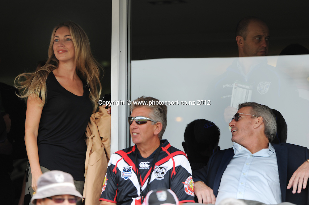 Corporate guests and Eric Watson in the Warriors box watch the NRL Rugby League match, Vodafone Warriors v Canterbury-Bankstown Bulldogs at Mt Smart Stadium, Auckland, New Zealand on Sunday 18 March 2012. Photo: Andrew Cornaga/photosport.co.nz
