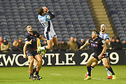 Henry Immelman leaps high for the ball during the Heineken Champions Cup match between Edinburgh Rugby and Montpellier Herault Rugby at BT Murrayfield Stadium, Edinburgh, Scotland on 18 January 2019.