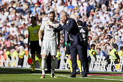March 16, 2019 - Madrid, Madrid, Spain - Real Madrid's Karim Benzema (L) and coach Zinedine Zidane (R) seen having words during La Liga match between Real Madrid and Real Club Celta de Vigo at Santiago Bernabeu Stadium in Madrid, Spain. (Credit Image: © Legan P. Mace/SOPA Images via ZUMA Wire)