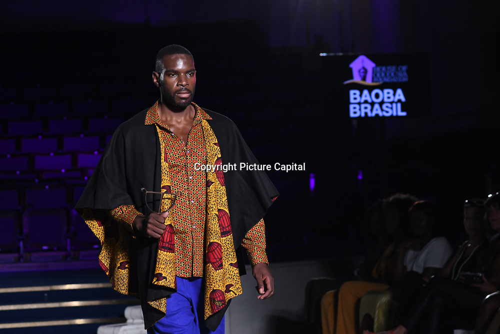 Designer Baoba Brasil showcases its latest collection at the Africa Fashion Week London (AFWL) at Freemasons' Hall on 11 August 2018, London, UK.