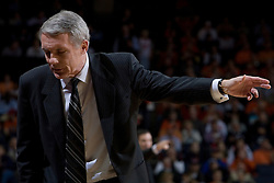 University of Maryland head basketball coach Gary Williams instructs his bench against Virginia.  The Cavaliers defeated the #22 ranked Terrapins 103-91 at the John Paul Jones Arena in Charlottesville, VA on January 16, 2007.