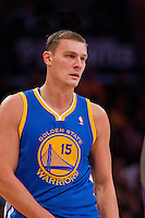 09 November 2012: Center (15) Andris Biedrins of the Golden State Warriors against the Los Angeles Lakers during the first half of the Lakers 101-77 victory over the Warriors at the STAPLES Center in Los Angeles, CA.